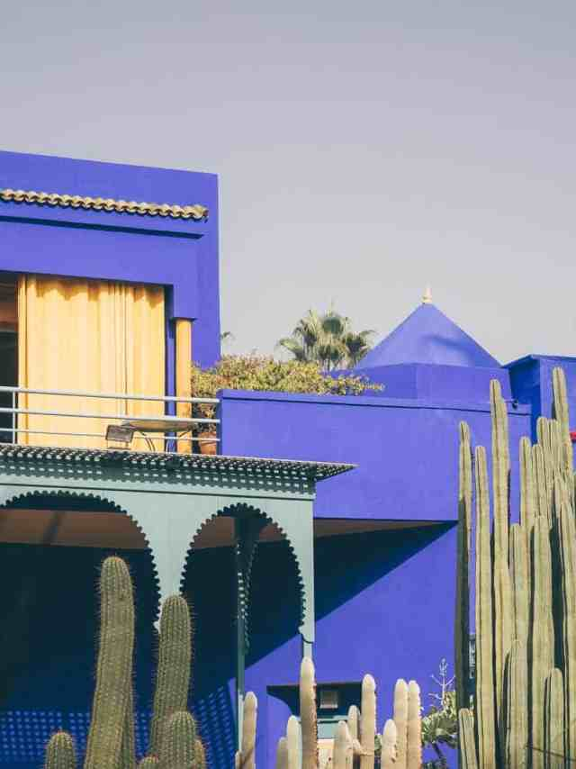A peacock blue villa in the ground of the Majorelle Gardens in Marrakech, Morocco.