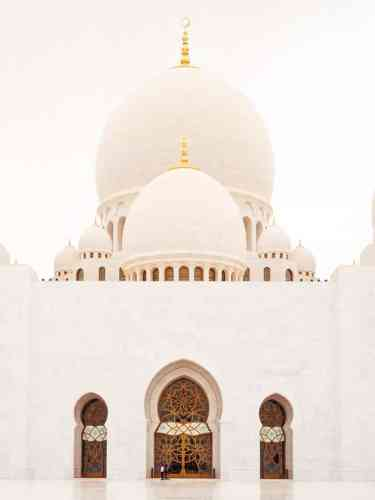 Entrance to the prayer hall at Sheikh Zayed Grand mosque, Abu Dhabi, United Arab Emirates