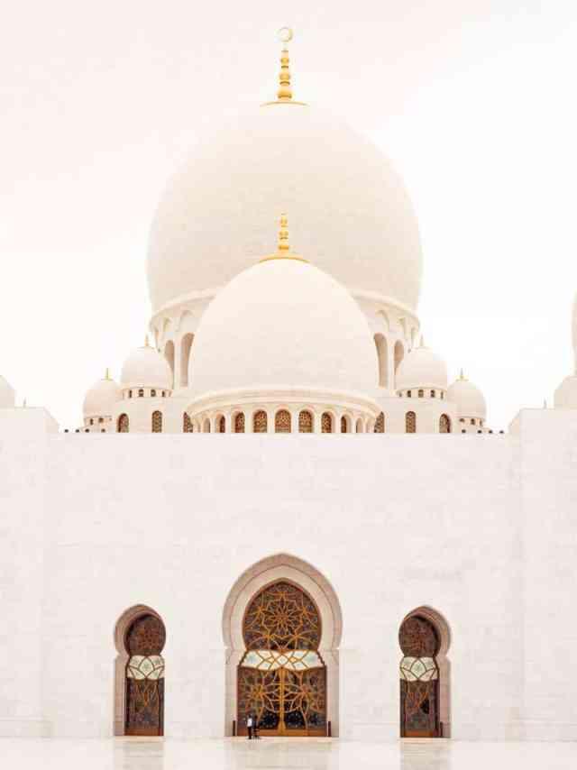 Entrance to the prayer hall at Sheikh Zayed Grand mosque, Abu Dhabi, United Arab Emirates