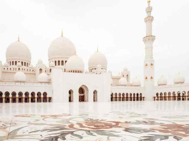 Sheikh Zayed Grand Mosque mosaic tiled central courtyard