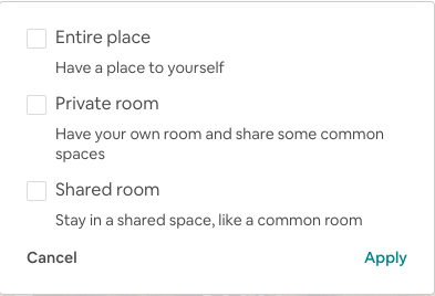 Airbnb Home Type Filter