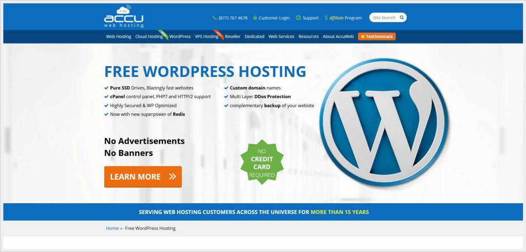 AccuWebhosting.com - free wordpress hosting