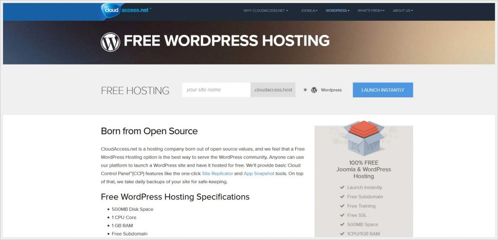 Cloudaccess.net - free wordpress hosting