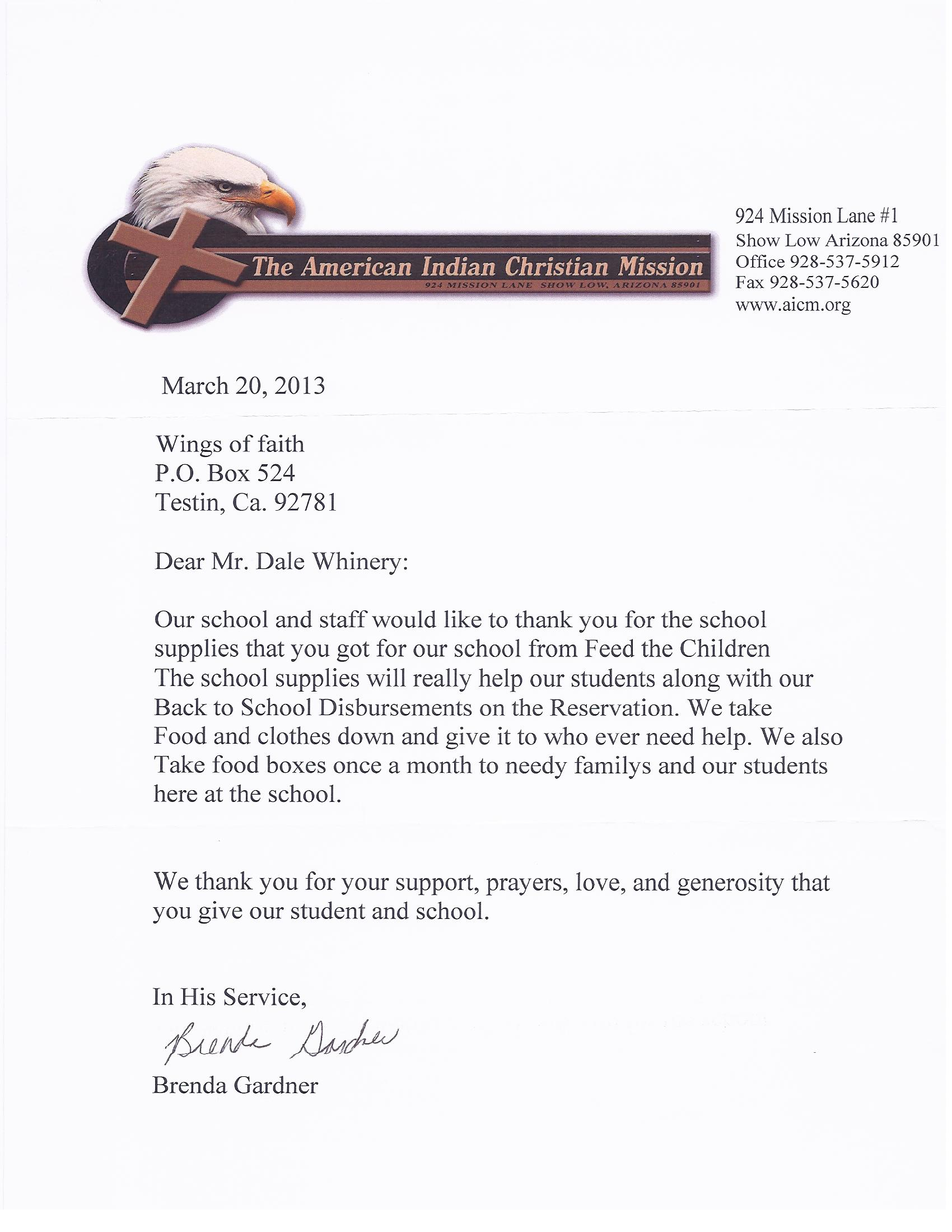 Donor Thank You Letters