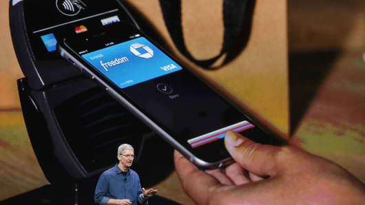 Tim Cook announces Apple Pay during an Apple special event at the Flint Center for the Performing Arts on September 9, 2014 in Cupertino, California.