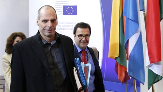 Greek Finance Minister Yanis Varoufakis arrives at a European Union finance ministers meeting in Brussels February 17, 2015.