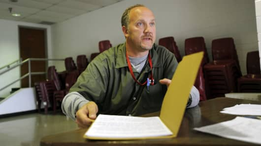 Bradley Birkenfeld, a former UBS banker, speaks during an interview at Schuylkill County Federal Correctional Institution in Minersville, Pa., on Tuesday, April 27, 2009.