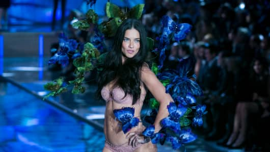 Adriana Lima walks the runway during the 2015 Victoria's Secret Fashion Show.