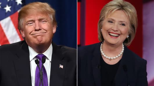 Donald Trump and Hilary Clinton, 2016 Presidential candidates.