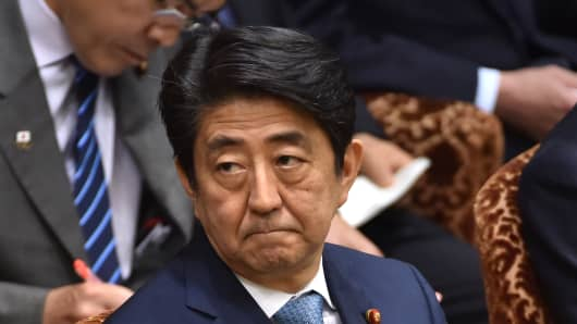 Japanese Prime Minister Shinzo Abe attending a budget committee session of the House of Councillors in Tokyo on May 13, 2016.