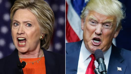 Democratic presidential candidate former Secretary of State Hillary Clinton (l) and Republican presumptive nominee, Donald Trump (r).