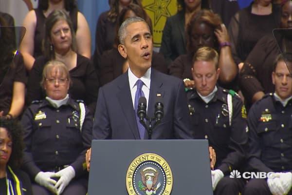Obama speaks at Dallas police memorial