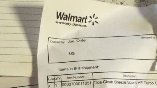 "This Wal-Mart invoice was sent with an order placed through an Amazon third-party seller. It listed ""Joe Order"" as the person who placed the order."