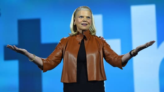 IBM Chairman, President and CEO Ginni Rometty delivers a keynote address at CES 2016 at The Venetian Las Vegas on January 6, 2016 in Las Vegas, Nevada.