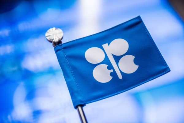 An OPEC branded flag sits on a table ahead of the 169th Organization of Petroleum Exporting Countries (OPEC) meeting in Vienna, Austria, on Thursday, June 2, 2016.