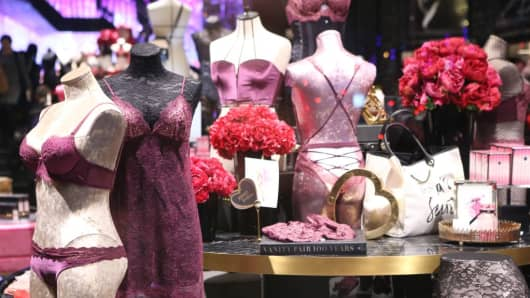 Interior view of the flagship store of lingerie brand Victoria's Secret at Huaihai Road on February 22, 2017 in Shanghai, China.