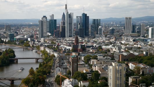 Frankfurt's skyline as viewed from the top floor of the new European Central Bank (ECB) headquarters