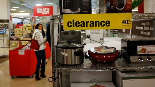 A woman shops in a Sears store in Milford, Connecticut.