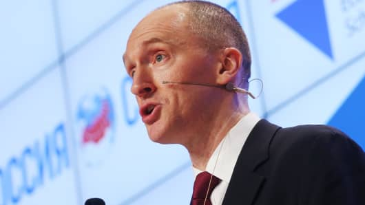 Dec 2016: Carter Page, a former foreign policy adviser to President Donald Trump during the election campaign, makes a presentation during his visit to Moscow.