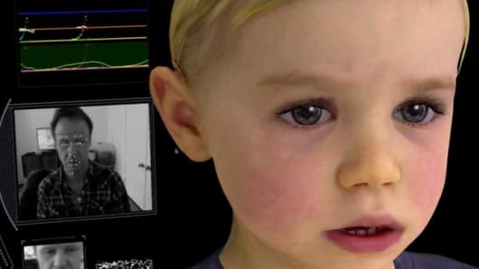 Mark Sagar showing facial emotion recognition technology with Baby X.