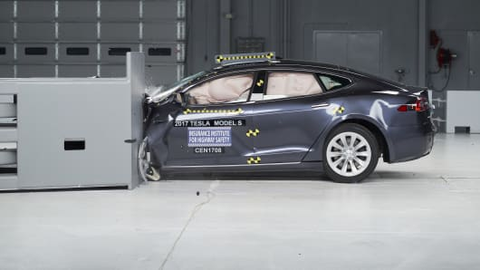 Action shot taken during the second of two small overlap frontal crash tests.