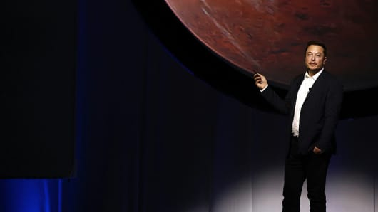 Elon Musk, CEO for SpaceX, speaks during the International Astronautical Congress in Guadalajara, Mexico, on Sept. 27, 2016.  Morgan Stanley sees SpaceX value growing to more than $50 billion 104739424 GettyImages 610721256