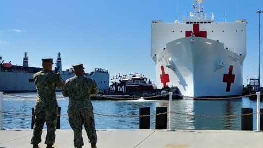 USNS Comfort (T-AH-20) departs Naval Station Norfolk on the afternoon of Friday, September 29, marking the beginning of it's journey to Puerto Rico.