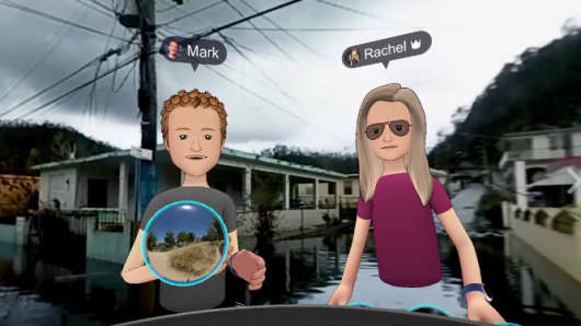 """Facebook CEO Mark Zuckerberg used the""""Spaces"""" virtual realitу product to transport his 3-D avatar to hurricane-hit Puerto Rico."""