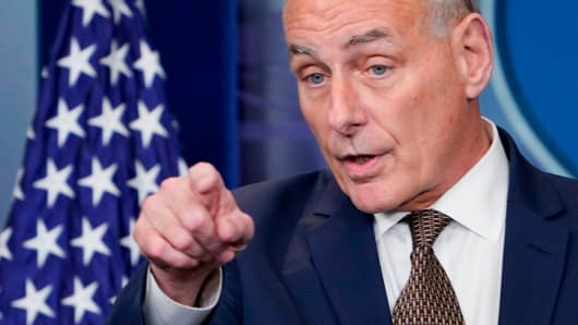 White House Chief of Staff John Kelly speaks during the daily briefing in the Brady Briefing Room of the White House on October 12, 2017 in Washington, DC.  White House's John Kelly says he's not leaving and Trump isn't firing him 104769254 GettyImages 860597536 john kelly