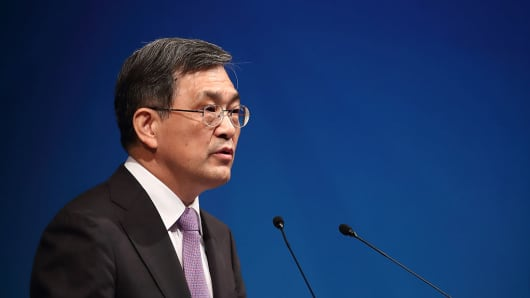 Kwon Oh-Hyun, co-vice chairman and co-CEO of Samsung Electronics, at the company's extraordinary general meeting in Seoul on Oct. 27, 2016.