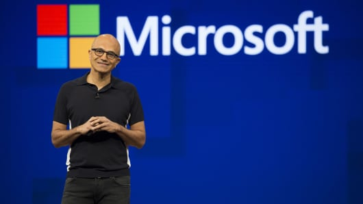 Microsoft CEO Satya Nadella smiles during the Microsoft Build developer conference in Seattle on May 10, 2017.