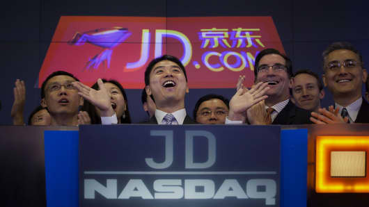 Richard Liu, founder and chairman of JD.com, during an IPO ceremony at the Nasdaq MarketSite in New York, U.S., on May 22, 2014.