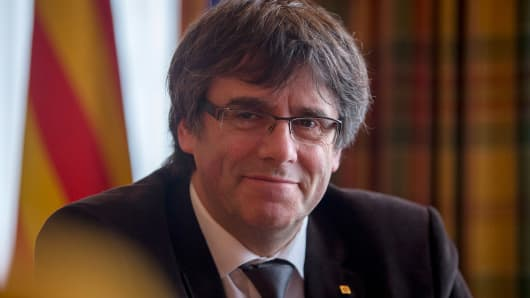 Catalonia's president in exile, Carles Puigdemont, in an interview in Brussels, Belgium, on December 15, 2017.
