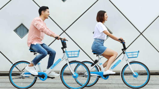 Hellobike offers bike-sharing in smaller cities throughout mainland China.