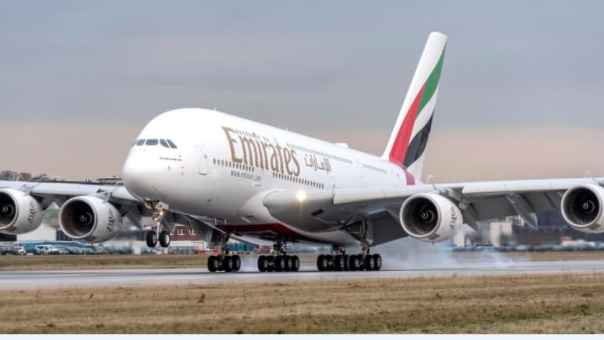 An Airbus A380 in Emirates livery.