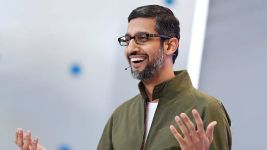 Google CEO Sundar Pichai speaks onstage during the annual Google I/O developers conference in Mountain View, California, May 8, 2018.