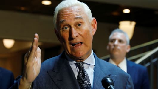 U.S. political consultant Roger Stone, a longtime ally of President Donald Trump, speaks to reporters after appearing before a closed House Intelligence Committee hearing investigating Russian interference in the 2016 U.S. presidential election at the U.S. Capitol in Washington, U.S., September 26, 2017.