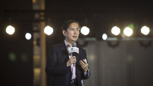 Daniel Zhang, Chief Executive Officer of Alibaba Group Holding Ltd., speaks at a press conference in Shanghai, China.