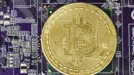 A visual representation of digital cryptocurrency bitcoin.