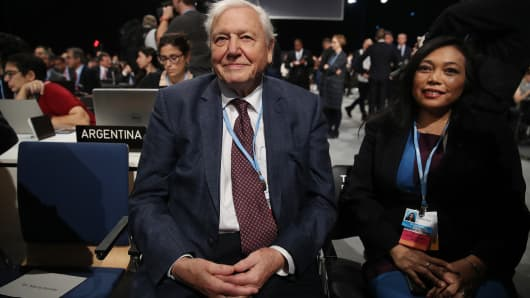David Attenborough attends the opening ceremony of the COP 24 United Nations climate change conference on December 03, 2018 in Katowice, Poland.