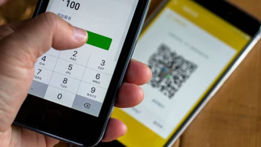 WeChat payment on mobile phone.