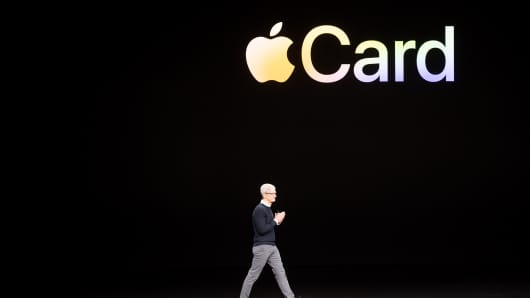 Apple CEO Tim Cook introduces Apple Card during a launch event at Apple headquarters on March 25, 2019, in Cupertino, California.