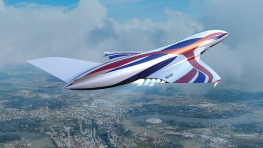 A rendering of a hypersonic vehicle in flight.