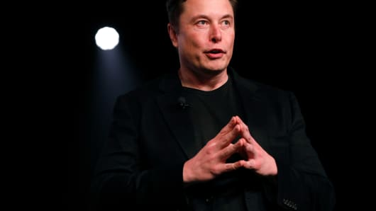 Elon Musk, co-founder and chief executive officer of Tesla Inc., speaks during an unveiling event for the Tesla Model Y crossover electric vehicle in Hawthorne, California, U.S., on Friday, March 15, 2019.