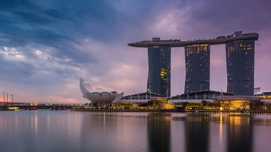 A general view of Marina Bay Sands at sunrise on September 18, 2016 in Singapore.