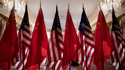 U.S. and Chinese flags seen at the US Department of State May 23, 2018 in Washington, DC.