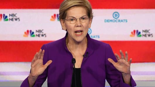 Democratic presidential hopeful Senator from Massachusetts Elizabeth Warren participates in the first Democratic primary debate of the 2020 presidential campaign season hosted by NBC News at the Adrienne Arsht Center for the Performing Arts in Miami, Florida, June 26, 2019.