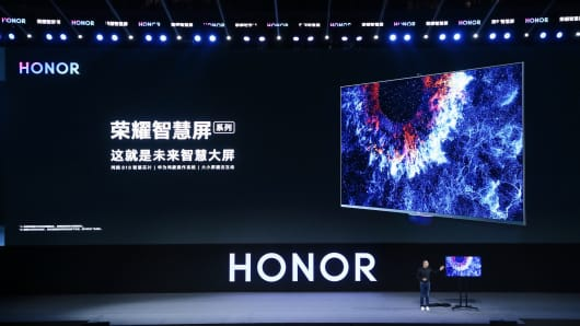 Mr. George Zhao, President of Huawei's Honor brand, at the Honor Vision China Launch in Dongguan, China, in August 2019. The Honor Vision TV is Huawei's first product with its proprietary operating system called HarmonyOS.