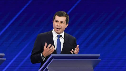 Democratic presidential hopeful Mayor of South Bend, Indiana, Pete Buttigieg speaks during the third Democratic primary debate of the 2020 presidential campaign season hosted by ABC News in partnership with Univision at Texas Southern University in Houston, Texas on September 12, 2019.