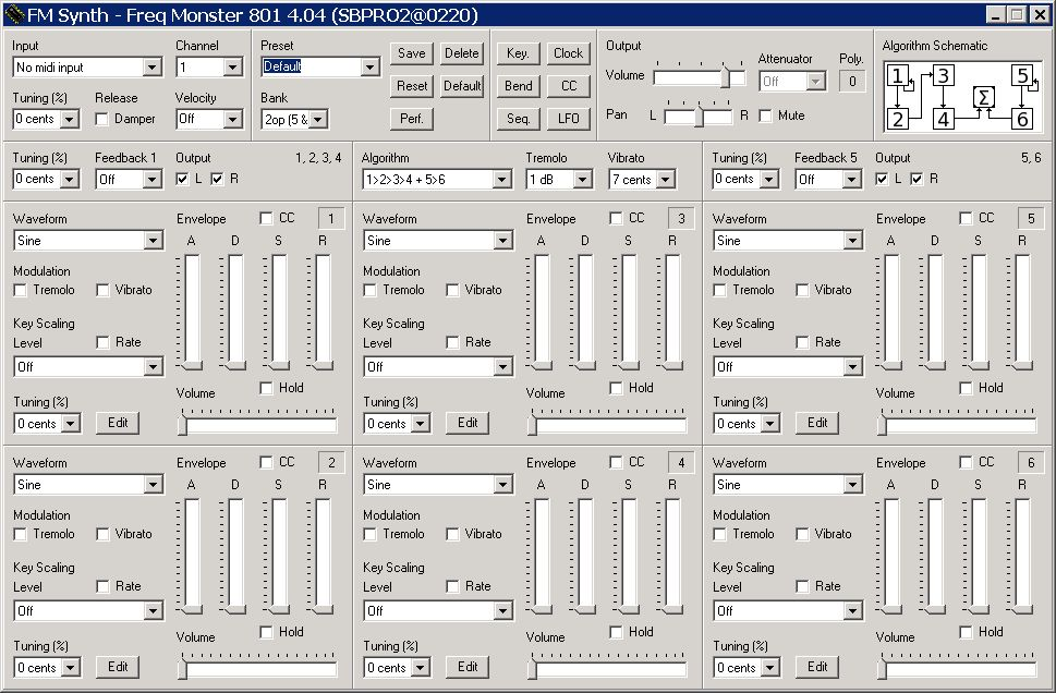 Freq Monster 801 • FM synthesizer frontend for OPL3